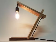 Hand made wooden lamp Walnut and ash table lamp
