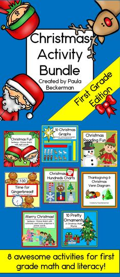 8 fun math and literacy ideas for first grade, to make holiday lesson planning just a little easier for you! TpT $