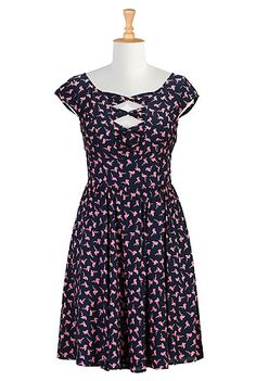 Pink flamingo print bow front dress // I just ordered this and I am SO PSYCHED