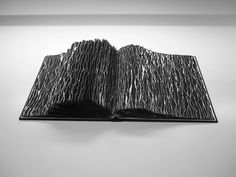 """Buzz Spector, """"Marcel Broodthaers #2,"""" 2010. Black gesso on found altered book, Variable"""
