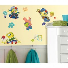 Spongebob Squarepants Skaters Wall Decals. Fast, fun, removable wall stickers. Create the perfect Spongebob themed room!
