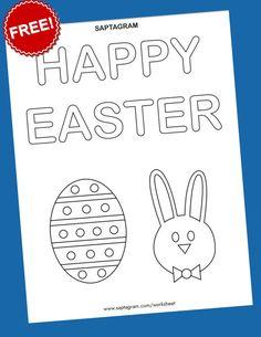 Happy Easter Coloring pages for kids Letter Tracing Worksheets, Kindergarten Math Worksheets, Worksheets For Kids, Printable Worksheets, Easter Coloring Pages, Coloring Pages For Kids, Kids Coloring, Creative Writing Worksheets, Kids Writing