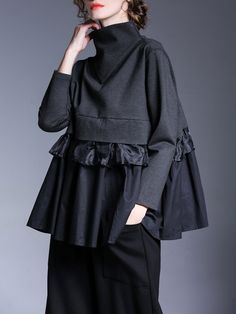 Miting Casual Loose Patchwork Solid Black Women Blouses Source by krlotariza women clothes Hijab Fashion, Fashion Dresses, Fashion Tips, Fashion Design, Fashion Blouses, Style Fashion, 2000s Fashion, Fashion Hacks, Jeans Fashion