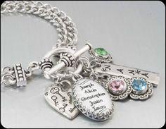 Personalized Mother's Birthstone Jewelry, Mother's Bracelet, Children Jewelry, Mother Bracelet, Grandmother, Grandchildren Names