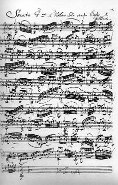 Spartito autografo di Bach, adagio prima sonata per violino 1720