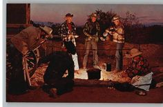 Postcard-Cattle Round Up..Cowboys by Campfire | eBay