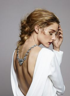 Olivia x BaubleBar Holiday Collection   Olivia Palermo - Tadashi Shoji Backless Silk Gown paired w/ the Lotus Bib necklace