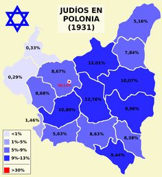 Just a simple map about percentages of Jews in Poland according to Polish census of I've considered as a Jew those persons who have Yiddish or Heb. Map about Jews in Poland Poland History, Jewish History, World History, Poland Map, Life Map, Historical Maps, Country Art, Genealogy, Planer