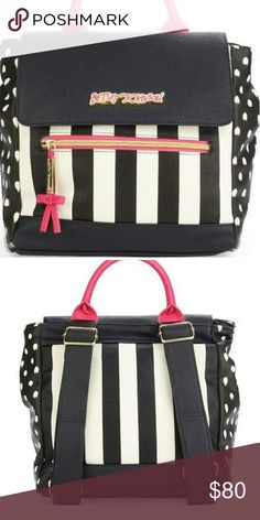 """Betsy Johnson Backpack Black, Pink + White - With Gold Hardware  Material:  PVC  Color:       Black/Multi  Measurements        10"""" x 9"""" x 7"""" (WxHxD)         Top handle 3"""" drop   Betsey Johnson Bags Backpacks"""