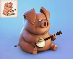 Pig, Arik Newman on ArtStation at https://www.artstation.com/artwork/Kdw2X