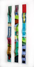 """Color Waves by Nina  Cambron (Art Glass Wall Sculpture) (48"""" x 3.5"""")"""