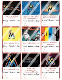 Florida Marlins Valentines Day Cards Sheet #3 (instant download or printed)
