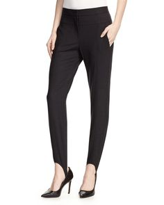 Halston Heritage Wool-Blend Stretch Stirrup Pants, Heather Black, Women's, Size: 0, Heather Bl