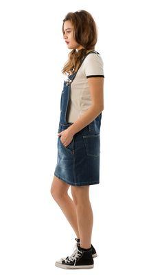0913359b920 USKEES CLAIRE Short Denim Dungaree Dress - Darkwash.  Uskees   biboveralldress  skirtall  denimfashion
