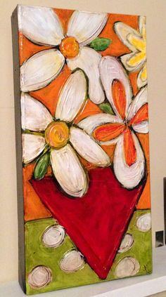 Orange and white flowers with red vase, green and white polka dot background painting on canvas