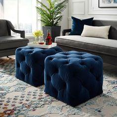 Navy Blue Velvet Ottoman - Leonard - Square Shaped - Modern in Blue - Posh Living Blue Ottoman, Ottoman Decor, Modern Ottoman, Square Ottoman, Upholstered Ottoman, Living Room Ottoman Ideas, Ottoman Design, Diy Ottoman, Ottoman Tray
