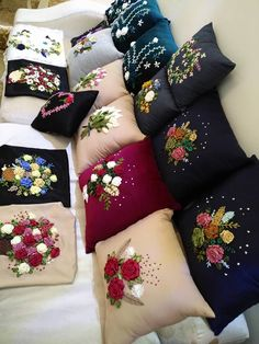 Bow Pillows, Couch Pillow Covers, Sewing Pillows, Couch Pillows, Hand Embroidery Videos, Hand Embroidery Art, Flower Embroidery Designs, Bed Cover Design, Cushion Cover Designs