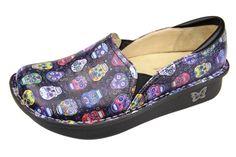 Alegria Debra Sugar Skulls i want these! Nursing Clogs, Nursing Scrubs, Alegria Shoes, Dress For Success, Mules Shoes, What I Wore, Comfortable Shoes, Me Too Shoes, Fashion Shoes
