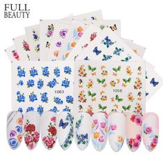 Full Beauty Nail Sticker Flower Butterfly Rose Water Transfer Decals For Nail Art Sliders Set Foils Decoration Nail Decals, Nail Stickers, Water Transfer, Blossom Flower, Rose Water, Beauty Full, Nail Manicure, Beauty Nails, Sliders