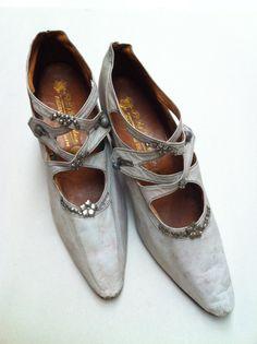 Vintage Edwardian Shoes Aqua Kid Leather Italy by GlorieVintage
