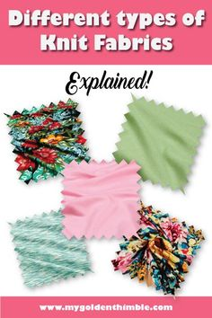 Types of Knit Fabrics. The best uses and Guide to choosing them. Sewing Hacks, Sewing Tutorials, Sewing Projects, Sewing Tips, Diy Projects, Sewing For Kids, Free Sewing, Double Knitting, Free Knitting