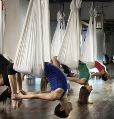 Aerial hammock and yoga exercise are great for natural strength training.