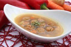 Mäsové guľky do polievky Cheeseburger Chowder, Soup, Ethnic Recipes, Kitchens, Drinks, Soups