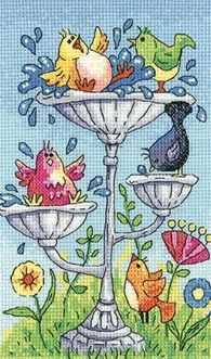 Bird Bath - Heritage Crafts cross stitch kit                              …