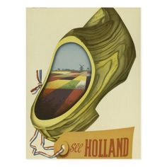 Illustrated by Cor V. Velsen in this high resolution vintage poster promotes travel and tourism in Holland. Vintage Advertising Posters, Poster Vintage, Vintage Travel Posters, Vintage Advertisements, Tourism Poster, Poster Ads, Poster Prints, Art Prints, Classic Movie Posters