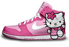 hello kitty old school nike air girls high tops   | Nike Hello Kitty Nikes Dunk Shoes For Girls