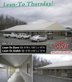 "One more day until it's Friday... Happy Lean-To Thursday!  Lean-To: (Eave 1) Dimensions: 8' W x 100' L x 10' H Pitch: 2/12 Eaves & Gables: 18"" Liner Panel on Ceiling  Lean-To: (Gable 1) Dimensions: 8' W x 60' L x 10' H Pitch: 2/12 Eaves & Gables: 18"" Liner Panel on Ceiling  Dimensions: 60' W x 100' L x 10' H (ID# 112) 60' Standard Trusses, 2' on Center, 4/12 Pitch  Details: http://pioneerpolebuildings.com/portfolio/project/60-w-x-100-l-x-10-h-id-112-total-cost-69864"