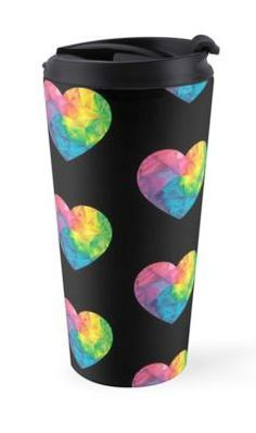 $23.59 Travel Mugs - Low Poly Heart. Awesome, Beautiful, Perfect,  Cute,  Best, TOP gift for yourself and for the special person in your life! Size:  (443 ml / 15 oz) * Dishwasher safe * Insulated stainless steel with removable lid #znovanna #Mugs #Mug #TravelMug #heart #valentines #valentinesday #loveday #Rainbow #love #lovers #fallinlove #stvalentine #romantic #Iloveyou #ValentineHearts #passionoflove #passion #romance #forwomen #formen #forher #forhim #Unisex #LowPoly #gift #redbubble