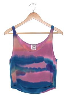 Sunset Landscape Tank- Pink, Orange, Blue & Purple - Hand Painted Silk - Small / Medium. $110.00, via Etsy.