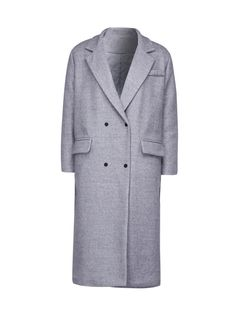 Buy Gray Lapel Double Breasted Padded Wool Blend Longline Coat from abaday.com, FREE shipping Worldwide - Fashion Clothing, Latest Street Fashion At Abaday.com