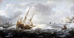 Navires dans la tempête près d'une côte rocheuse (1614), de Jan Porcellis
