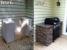 Exterior faux stone sheets cover this frame, creating an amazing outdoor grilling station. Exterior faux stone sheets cover this frame, creating an amazing outdoor grilling station.