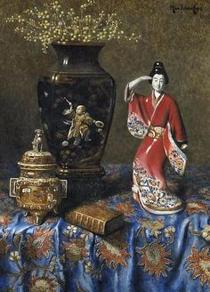 Max Schödl (Austrian, Title: A still life with a Japanese censer, vase and figurine , 1912 Medium: oil on panel Size: x cm. Classical Art, Oriental Art, Art For Art Sake, Still Life Photography, Still Life, Still Life Art, Beautiful Paintings, Art Deco Paintings, Art Themes