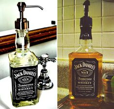 Old bottle into soap dispenser...man cave bathroom