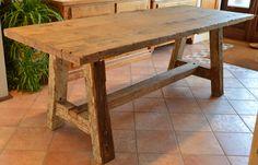falegnameria bensi... tavolo a capretta in rovere antico di recupero prima patina.