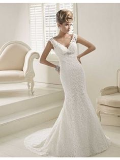Timeless Fit-and-flared V-neck Court Train Lace Wedding Dress with Beaded Embellishment - Didobridal