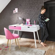 coiffeuse enfant en bois blanche et rose l 69 cm d cos maison pinterest dressing children. Black Bedroom Furniture Sets. Home Design Ideas