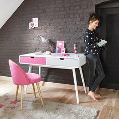 coiffeuse enfant en bois blanche et rose l 69 cm d cos maison pinterest dressing children. Black Bedroom Furniture Sets. Home Design Ideas