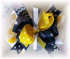 LOT ( 1 ) 5 TO 5 1/2 INCH NAVY YELLOW WHITE BOUTIQUE HAIR BOW #Handmade