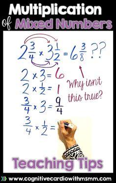 Teaching Multiplication of Fractions and Mixed Numbers Teaching Multiplication, Math Fractions, Dividing Fractions, Equivalent Fractions, Teaching Tips, Teaching Math, 5th Grade Math, Common Core Math, Math Classroom
