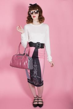 Pinstripe Pinup Pencil Skirt in Pink