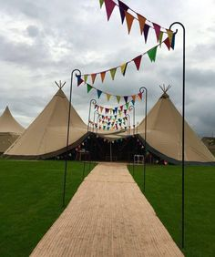 Two giant hat tipis with rainbow bunting walkway Inspiration for your tipi celebration. Wether you are looking for tipis for a wedding or party our gallery has plenty of ideas to help with your planning. Wedding Bunting, Tipi Wedding, Marquee Wedding, Wedding Walkway, Garden Wedding Decorations, Birthday Party Decorations, Party Themes, Diy Marquee Decorations, Ideas Party