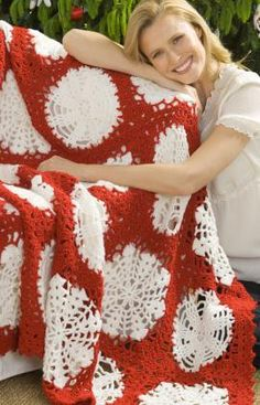 Scandinavian Snowflake Throw Free Crochet Pattern from Red Heart Yarns