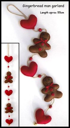 Picture for inspiration: Gingerbread men & hearts felt Garland/Mobile Felt Christmas Decorations, Felt Christmas Ornaments, Christmas Makes, Christmas Holidays, Christmas Projects, Holiday Crafts, Navidad Diy, Felt Garland, Christmas Sewing