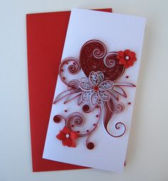 Quilled Valentine's Day Card for Her, Girlfriend, Darling - Paper Handmade I Love You Card - Quilled Heart Flower Desing