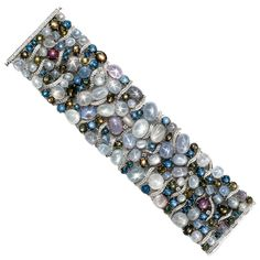 Important Natural Star Sapphire Diamond Gold Bracelet | From a unique collection of vintage modern bracelets at https://www.1stdibs.com/jewelry/bracelets/modern-bracelets/